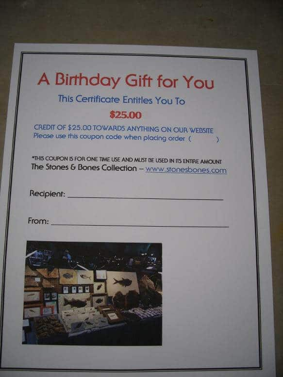 birthday gift certificate 25 00 141417h the stones bones collection